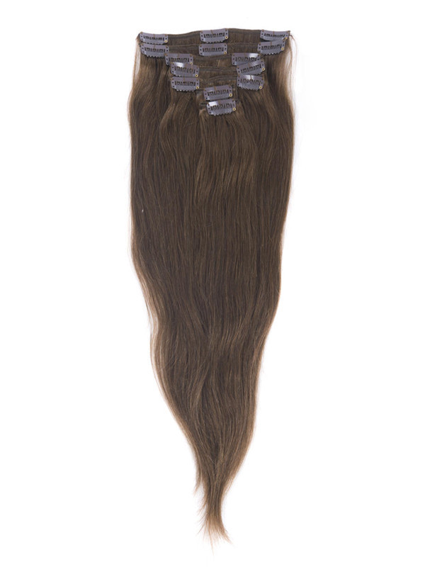 Medium Chestnut Brown(#6) Deluxe Straight Clip In Human Hair Extensions 7 Pieces cih044 4