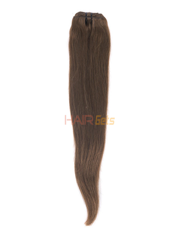 Medium Chestnut Brown(#6) Deluxe Straight Clip In Human Hair Extensions 7 Pieces 5