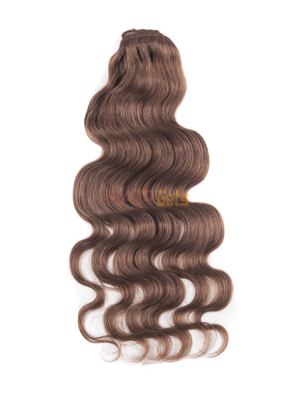 Light Chestnut(#8) Deluxe Body Wave Clip In Human Hair Extensions 7 Pieces-np 0