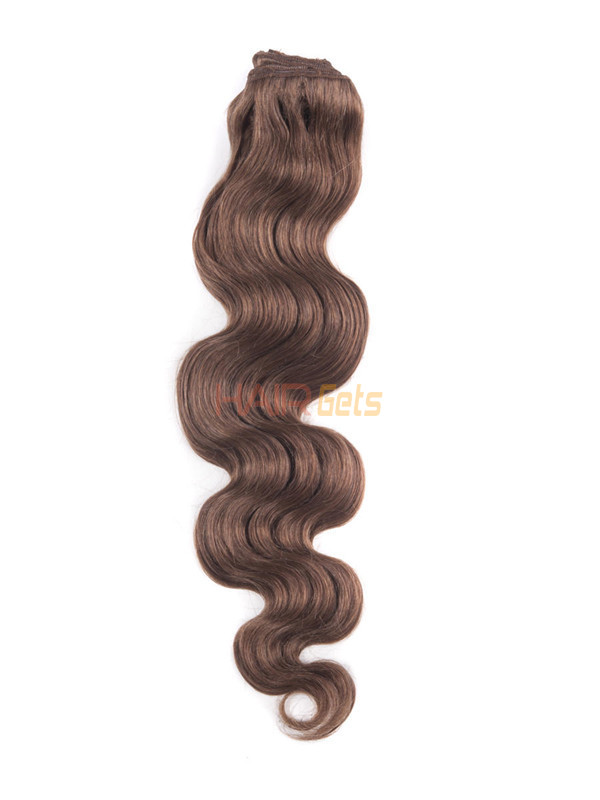 Light Chestnut(#8) Deluxe Body Wave Clip In Human Hair Extensions 7 Pieces-np 1