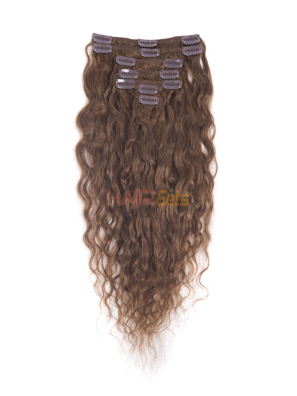 Light Chestnut(#8) Premium Kinky Curl Clip In Hair Extensions 7 Pieces 1