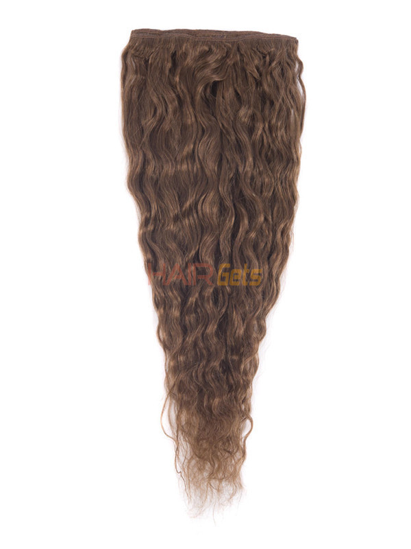 Light Chestnut(#8) Premium Kinky Curl Clip In Hair Extensions 7 Pieces 2