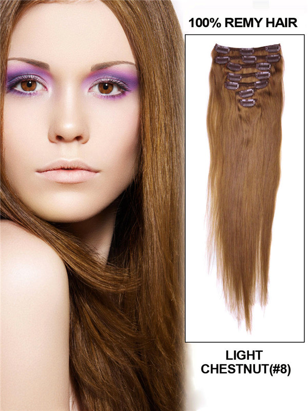 Light Chestnut(#8) Premium Straight Clip In Hair Extensions 7 Pieces cih052 0