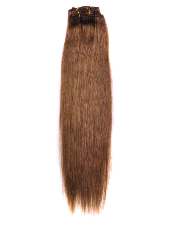 Light Chestnut(#8) Premium Straight Clip In Hair Extensions 7 Pieces cih052 2