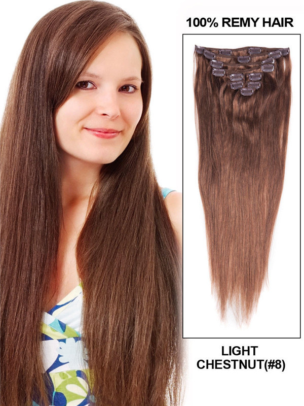Light Chestnut(#8) Ultimate Straight Clip In Remy Hair Extensions 9 Pieces cih054 0