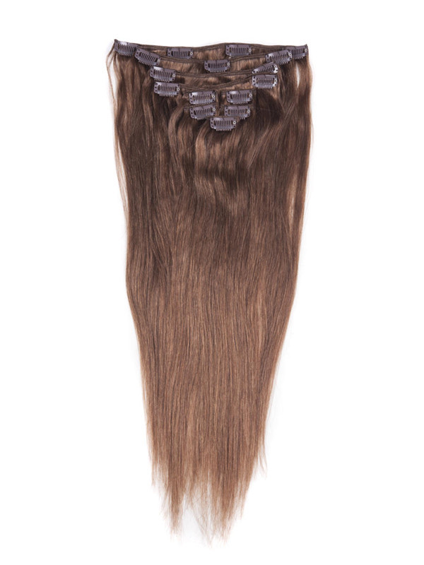 Light Chestnut(#8) Ultimate Straight Clip In Remy Hair Extensions 9 Pieces cih054 1