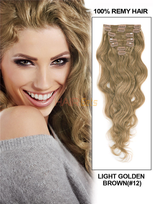 Light Golden Brown(#12) Premium Body Wave Clip In Hair Extensions 7 Pieces 0