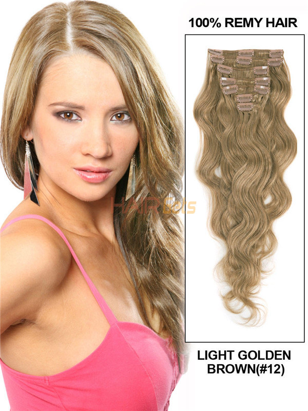 Light Golden Brown(#12) Ultimate Body Wave Clip In Remy Hair Extensions 9 Pieces-np 0