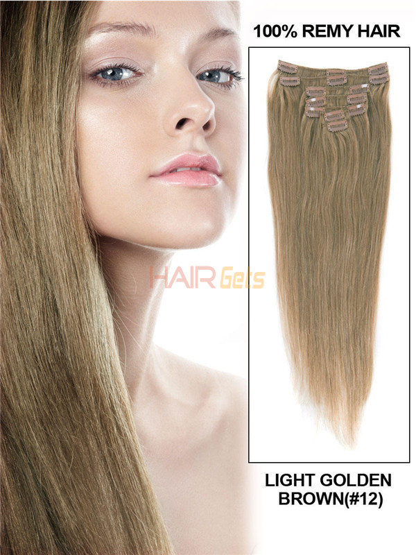 Light Golden Brown(#12) Deluxe Straight Clip In Human Hair Extensions 7 Pieces 0