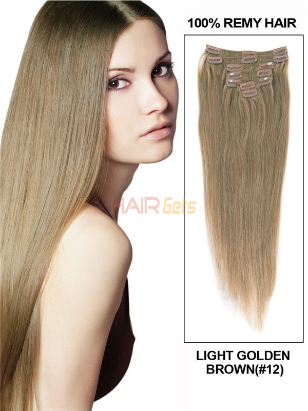 Light Golden Brown(#12) Deluxe Straight Clip In Human Hair Extensions 7 Pieces 1