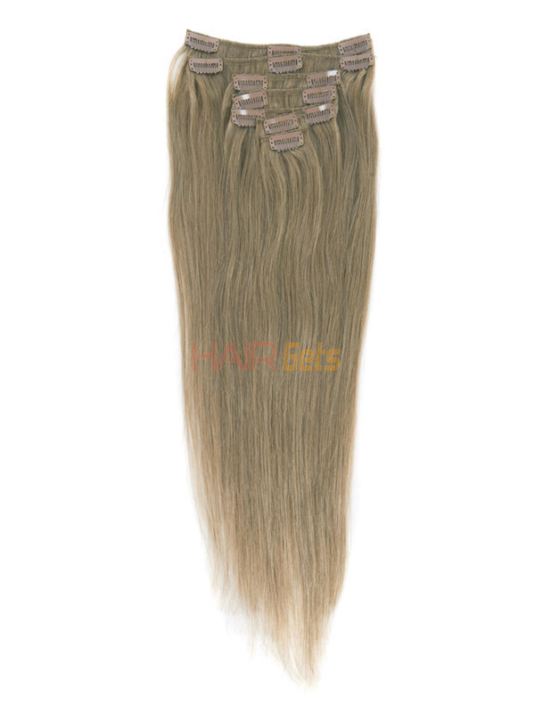 Light Golden Brown(#12) Deluxe Straight Clip In Human Hair Extensions 7 Pieces 2
