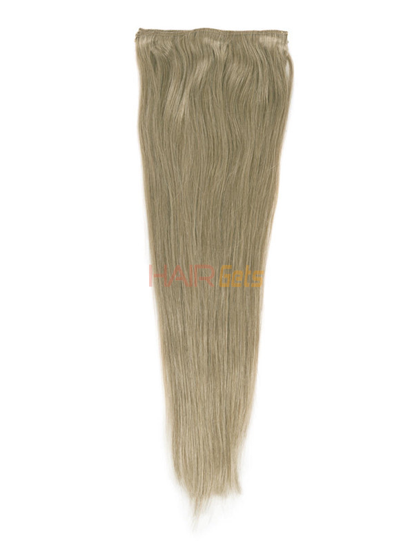 Light Golden Brown(#12) Deluxe Straight Clip In Human Hair Extensions 7 Pieces 3