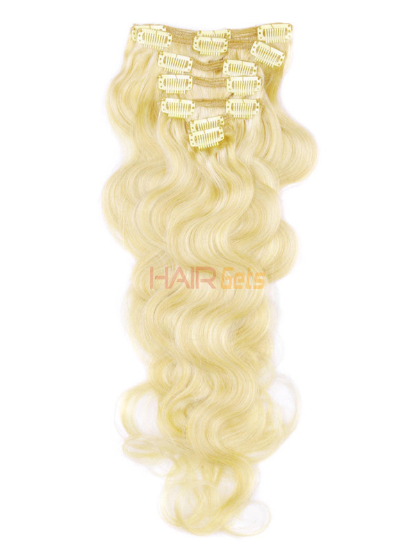 Medium Blonde(#24) Deluxe Body Wave Clip In Human Hair Extensions 7 Pieces-np 0