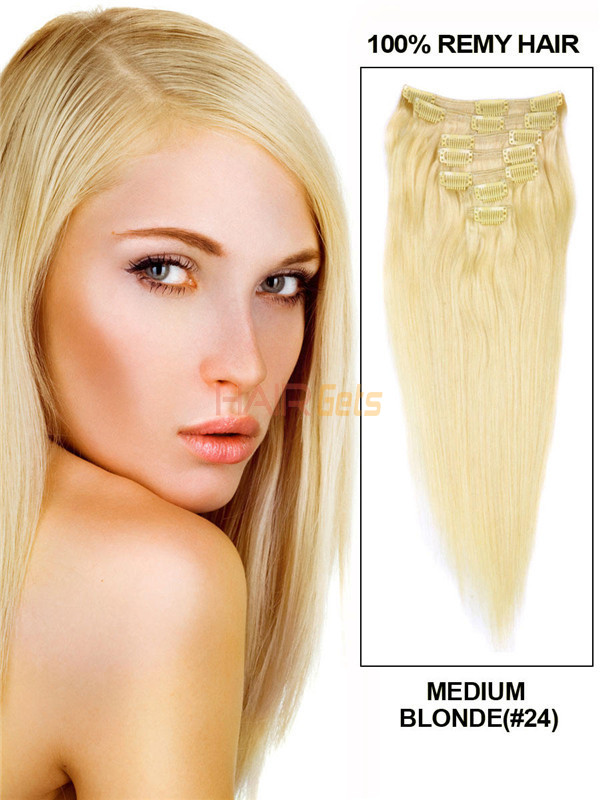 Medium Blonde(#24) Deluxe Straight Clip In Human Hair Extensions 7 Pieces 0