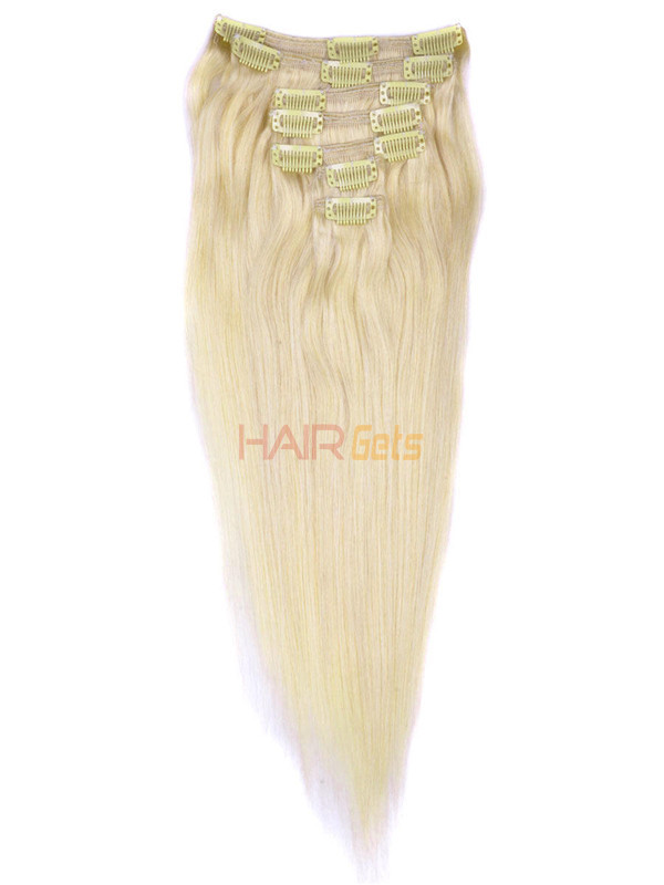 Medium Blonde(#24) Deluxe Straight Clip In Human Hair Extensions 7 Pieces 1