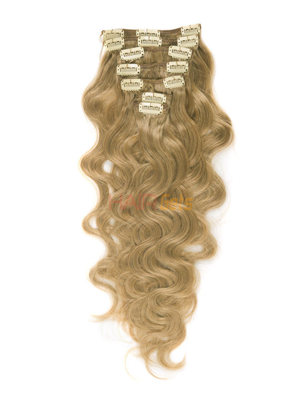 Strawberry Blonde(#27) Deluxe Body Wave Clip In Human Hair Extensions 7 Pieces 0