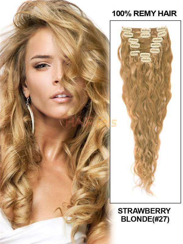 Strawberry Blonde(#27) Premium Kinky Curl Clip In Hair Extensions 7 Pieces 0