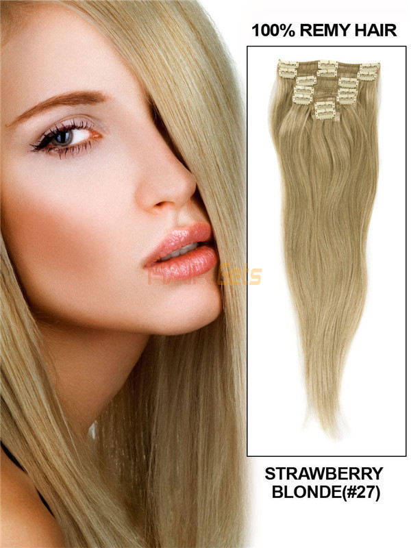 Strawberry Blonde(#27) Deluxe Straight Clip In Human Hair Extensions 7 Pieces 0