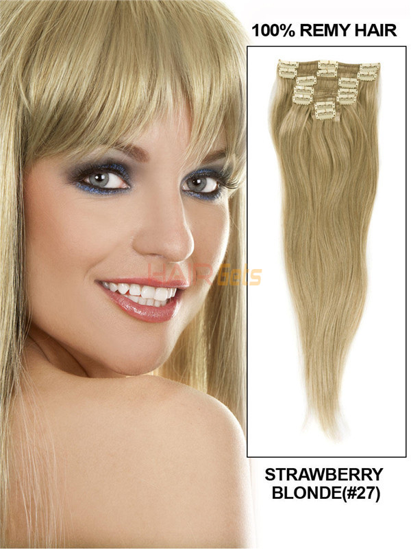 Strawberry Blonde(#27) Deluxe Straight Clip In Human Hair Extensions 7 Pieces 1