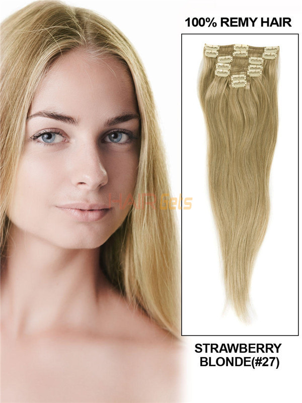 Strawberry Blonde(#27) Deluxe Straight Clip In Human Hair Extensions 7 Pieces 2