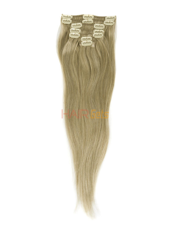 Strawberry Blonde(#27) Deluxe Straight Clip In Human Hair Extensions 7 Pieces 3