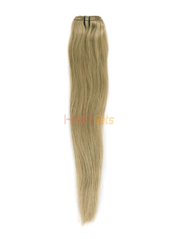 Strawberry Blonde(#27) Deluxe Straight Clip In Human Hair Extensions 7 Pieces 4