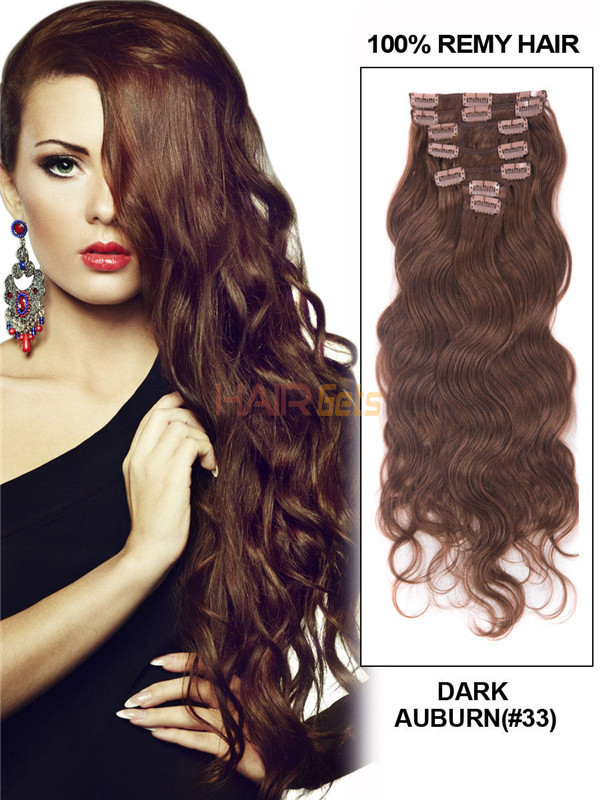 Dark Auburn(#33) Premium Body Wave Clip In Hair Extensions 7 Pieces 0