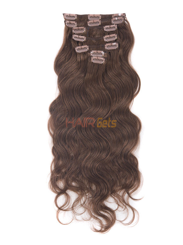 Dark Auburn(#33) Deluxe Body Wave Clip In Human Hair Extensions 7 Pieces 1