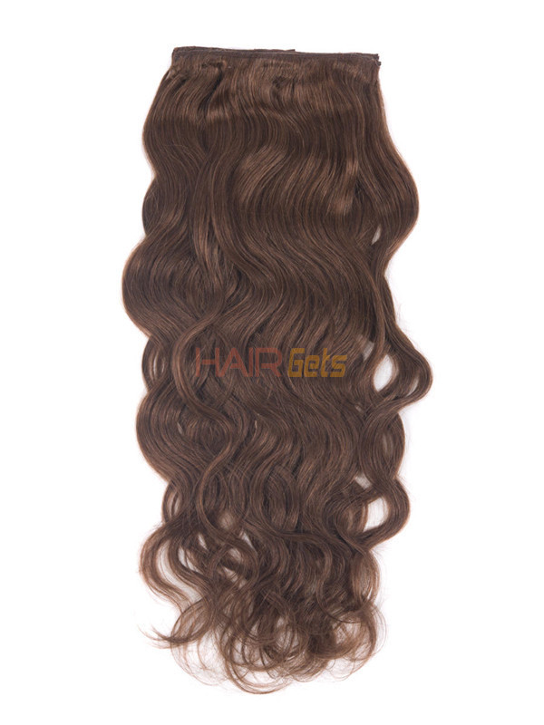 Dark Auburn(#33) Deluxe Body Wave Clip In Human Hair Extensions 7 Pieces 2