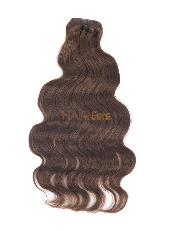 Dark Auburn(#33) Deluxe Body Wave Clip In Human Hair Extensions 7 Pieces 3