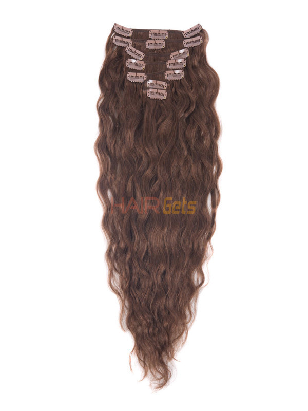 Dark Auburn(#33) Premium Kinky Curl Clip In Hair Extensions 7 Pieces 0