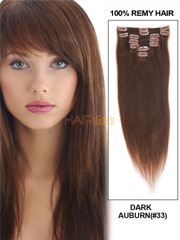 Dark Auburn(#33) Premium Straight Clip In Hair Extensions 7 Pieces 1