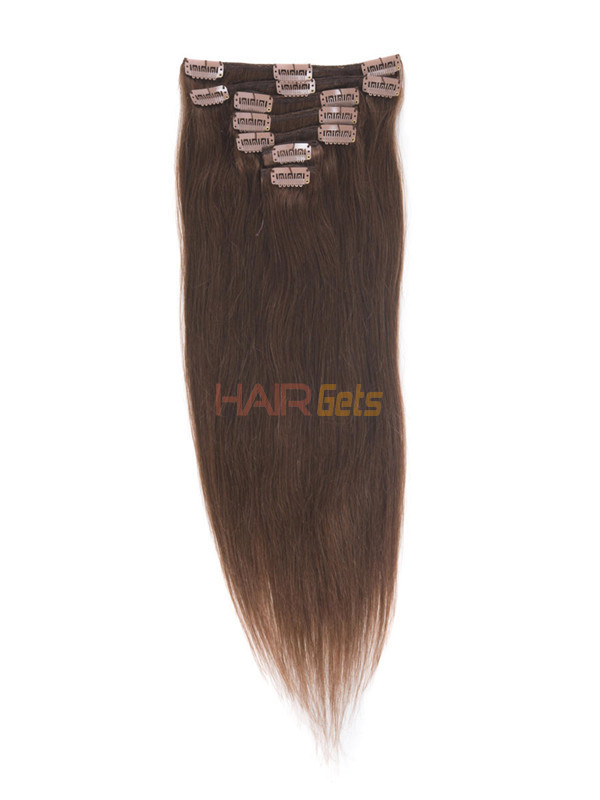 Dark Auburn(#33) Premium Straight Clip In Hair Extensions 7 Pieces 2