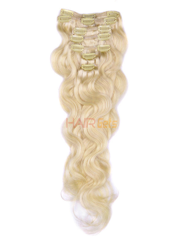 Bleach White Blonde(#613) Premium Body Wave Clip In Hair Extensions 7 Pieces 1
