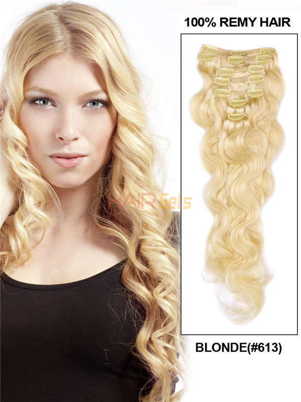Bleach White Blonde(#613) Deluxe Body Wave Clip In Human Hair Extensions 7 Pieces 0