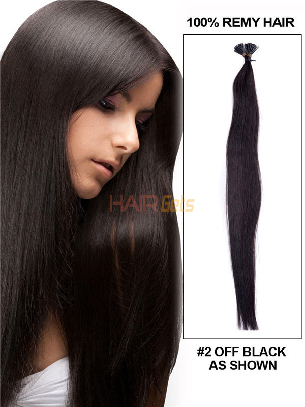 50 Piece Silky Straight Remy Stick Tip/I Tip Hair Extensions Natural Black(#1B) 0