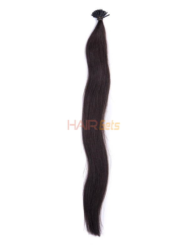 50 Piece Silky Straight Remy Stick Tip/I Tip Hair Extensions Natural Black(#1B) 1