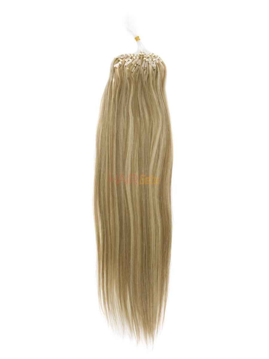 Remy Micro Loop Hair Extensions 100 Strands Silky Straight Golden Brown/Blonde(#F12/613) 0