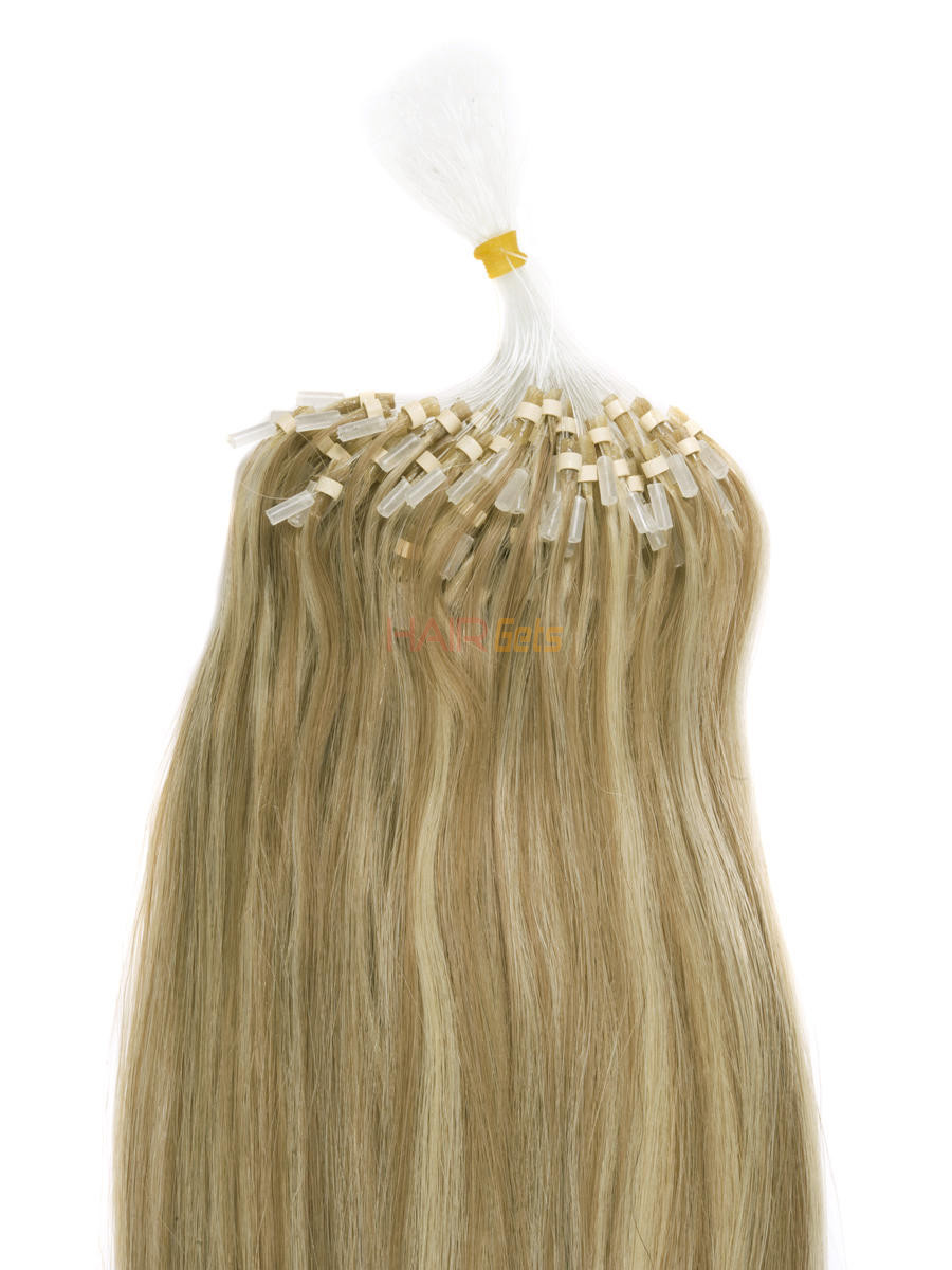 Remy Micro Loop Hair Extensions 100 Strands Silky Straight Golden Brown/Blonde(#F12/613) 1