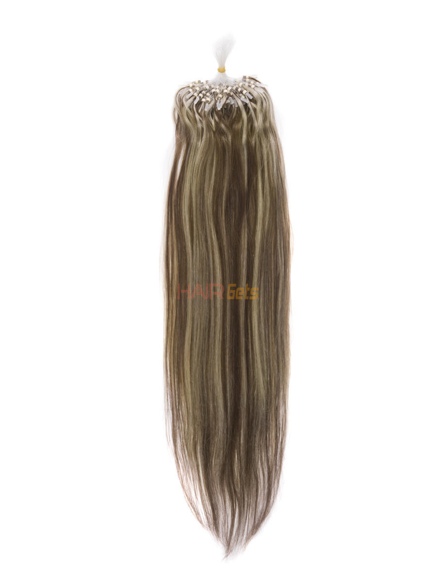 Micro Loop Human Hair Extensions 100 Strands Silky Straight Chestnut Brown/Blonde(#F6/613) 0