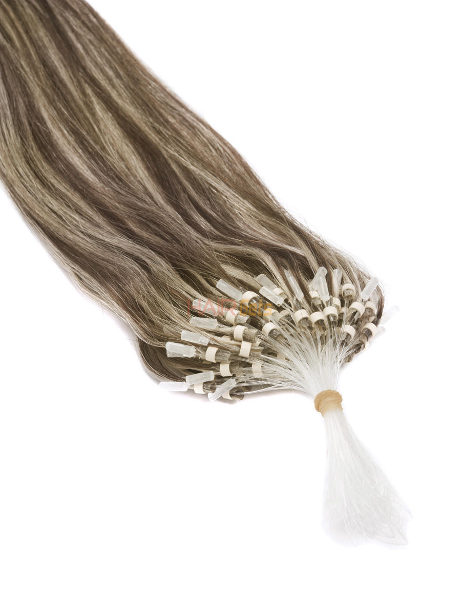 Micro Loop Human Hair Extensions 100 Strands Silky Straight Chestnut Brown/Blonde(#F6/613) 1