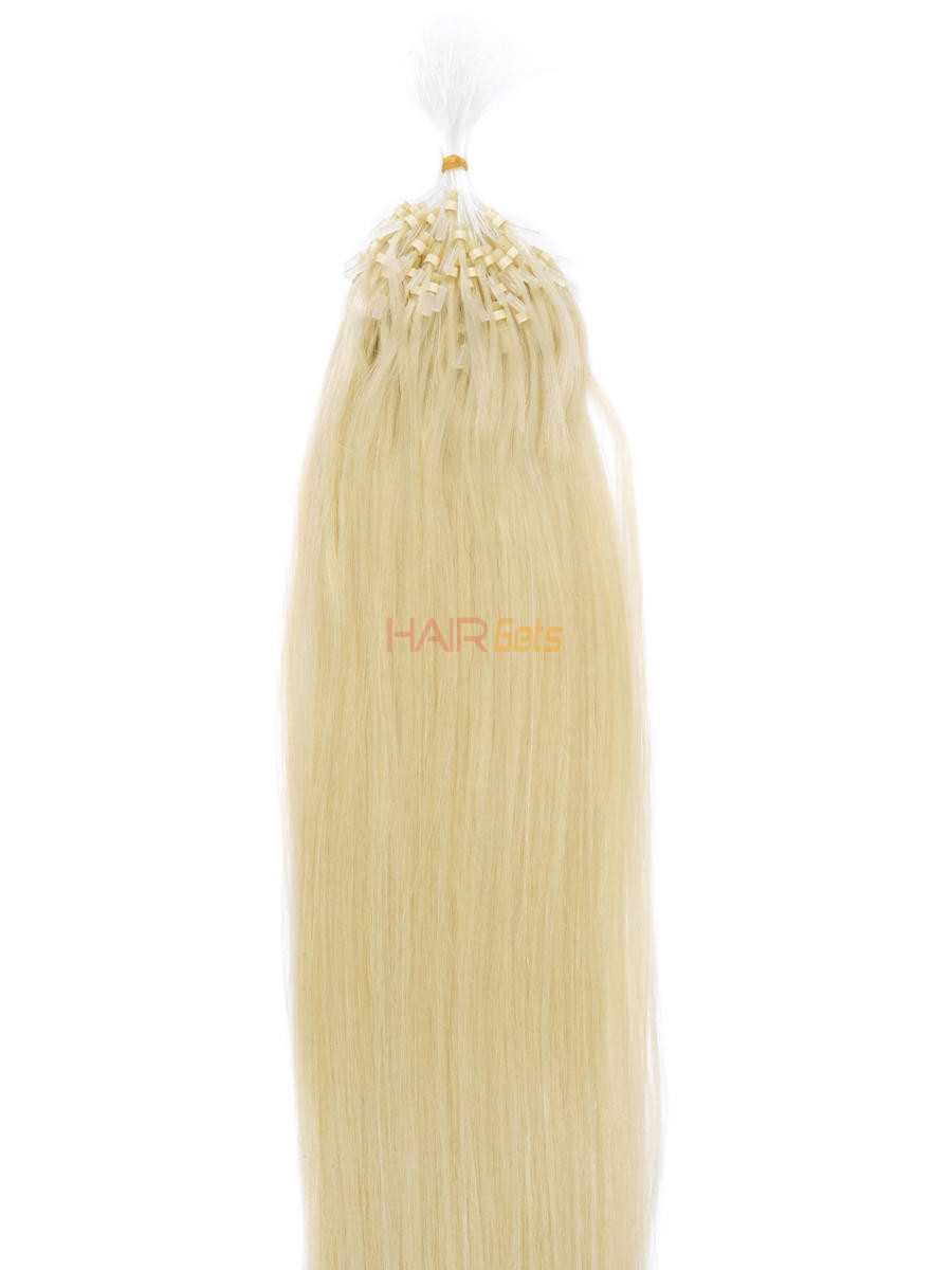 Remy Micro Loop Hair Extensions 100 Strands Silky Straight Bleach White Blonde(#613) 0