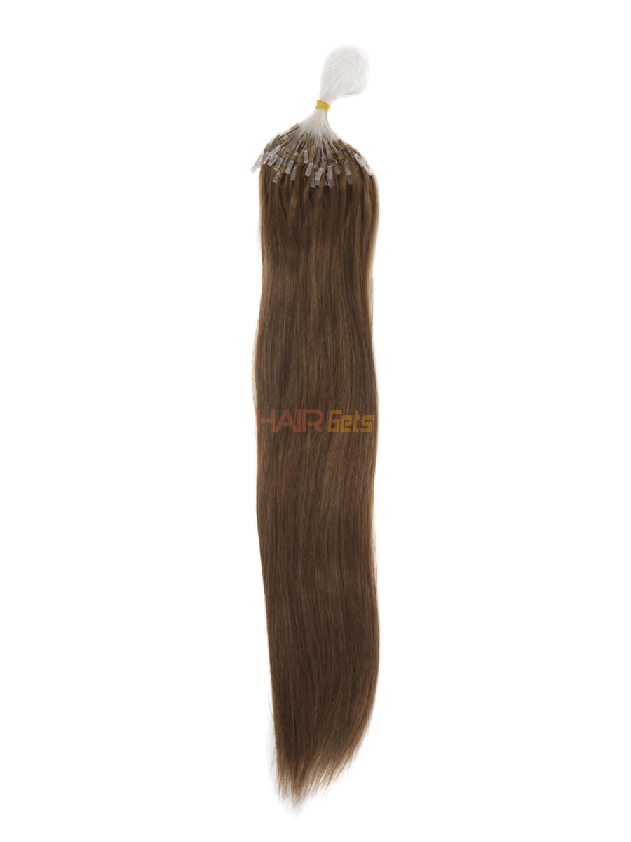 Human Micro Loop Hair Extensions 100 Strands Silky Straight Light Chestnut(#8) 0