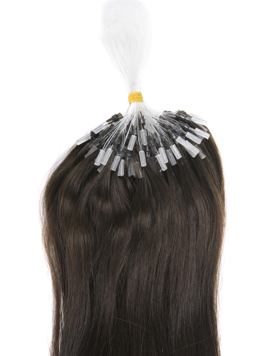 Remy Micro Loop Hair Extensions 100 Strands Silky Straight Dark Brown(#2) mlh007 1