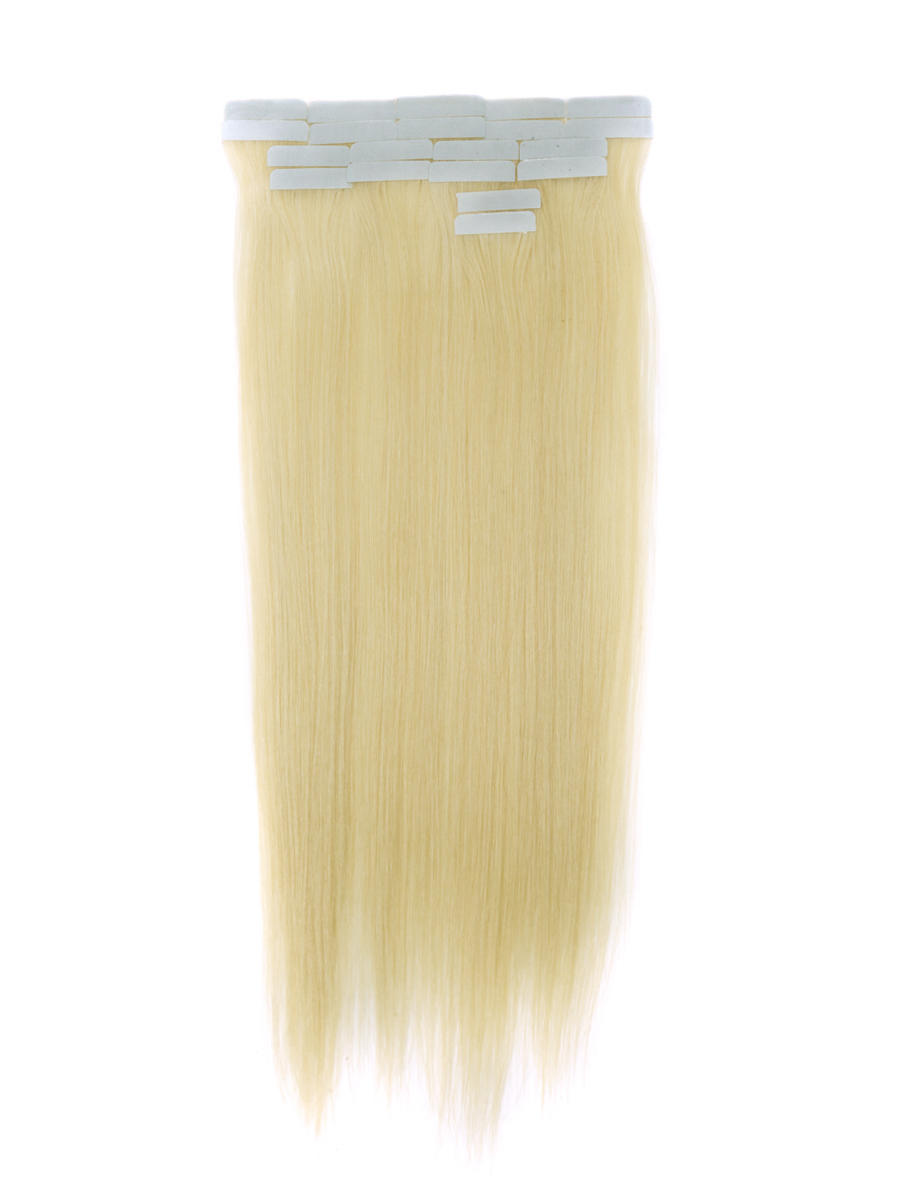 Tape In Human Hair Extensions 20 Piece Silky Straight Bleach White Blonde(#613) tih001 0