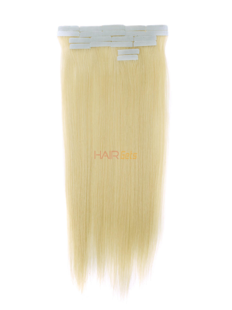 Tape In Human Hair Extensions 20 Piece Silky Straight Bleach White Blonde(#613) 0