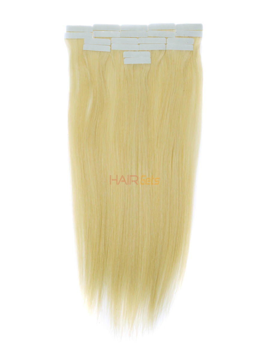 Tape In Human Hair Extensions 20 Piece Silky Straight Medium Blonde(#24) 0