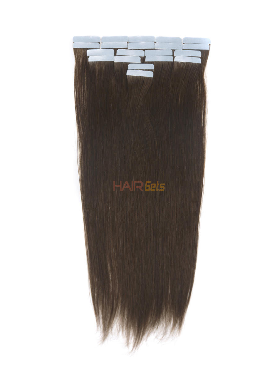 Remy Tape In Hair Extensions 20 Piece Silky Straight Medium Brown(#4) 0