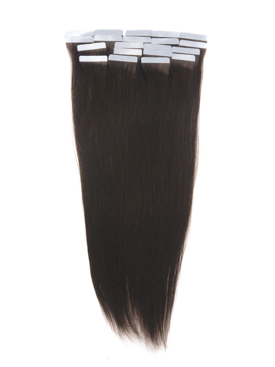 Tape In Remy Hair Extensions 20 Piece Silky Straight Dark Brown(#2) tih005 0