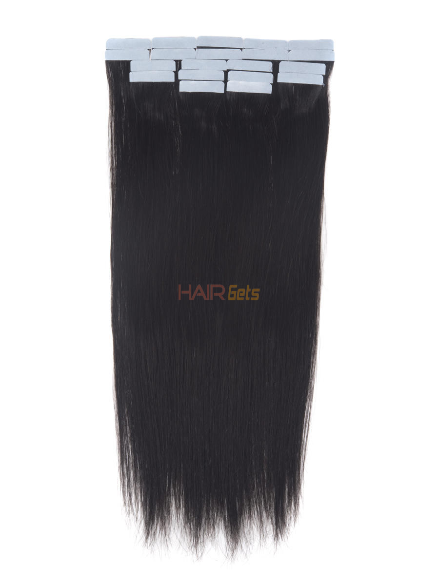 Remy Tape In Hair Extensions 20 Piece Silky Straight Natural Black(#1B) 0